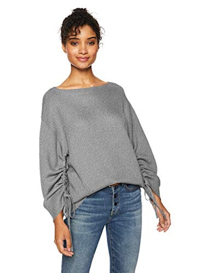 Cable Stitch Women's Ruched Sleeve Sweater Heather Grey