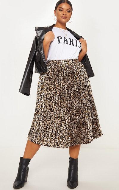 Plus Tan Leopard Pleated Midi Skirt