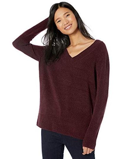 Goodthreads Women's Mid-Gauge Stretch V-Neck Sweater