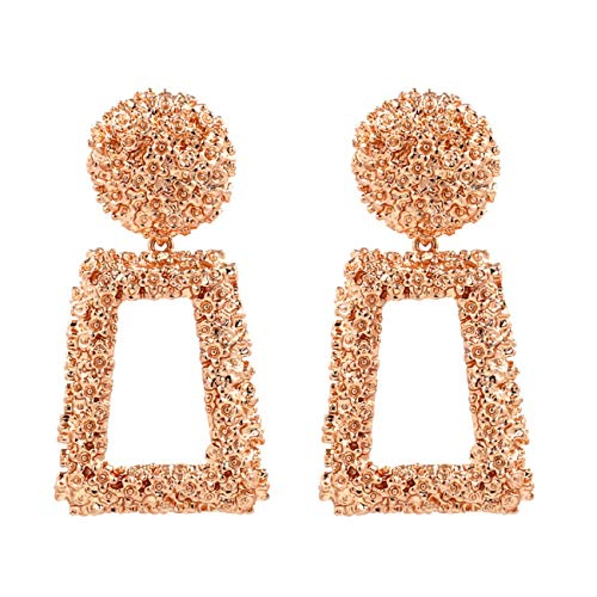 KELMALL Rose Gold Raised Design Rectangle Statement Earrings