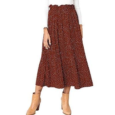 Exlura Womens High Waist Polka Dot Pleated Skirt