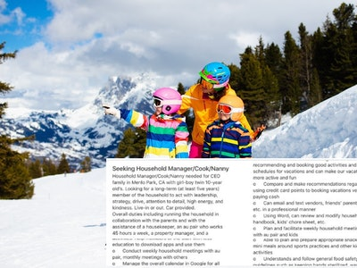 a tweet over a photo of a woman skiing with two kids