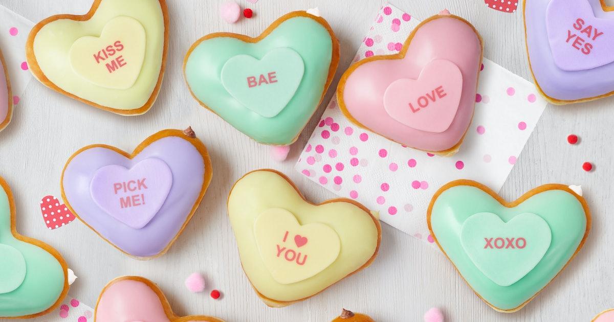Krispy Kreme's Valentine's Day 2020 Conversation Heart Doughnuts Are Too Sweet