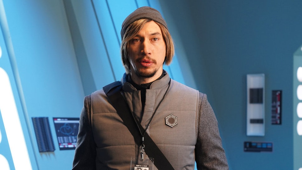 """Host Adam Driver as Kylo Ren on the 'SNL' """"Undercover Boss: Where Are They Now"""" sketch"""