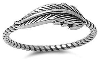 Jude Jewelers Oxidized Stainless Steel Leaf Thumb Ring