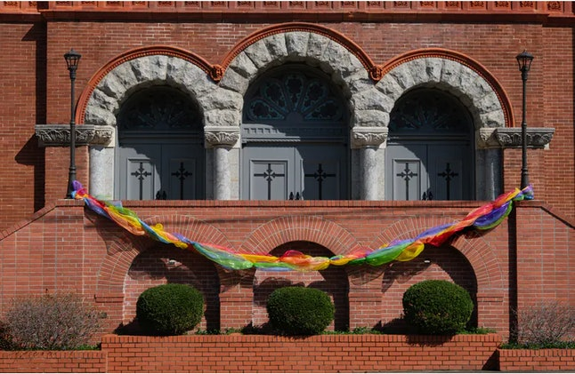 The First United Methodist Church in Little Rock, Arkansas, displayed a rainbow decoration to signif...