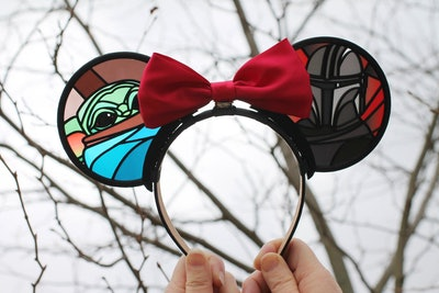 Space Child Faux Stained Glass 3D Printed Interchangeable Mouse Ears