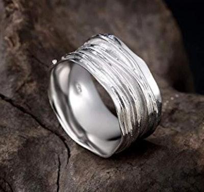 SOMEN TUNGSTEN 10mm Wide Ripple Thumb Ring