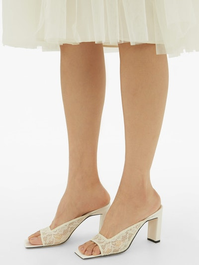 Isa square open-toe lace mules