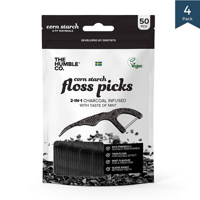 The Humble Co. Sustainable Charcoal Floss Picks (4-Pack)