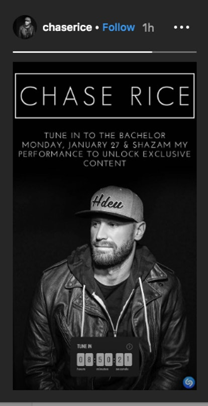 Chase Rice promotes 'The Bachelor' appearance on Instagram