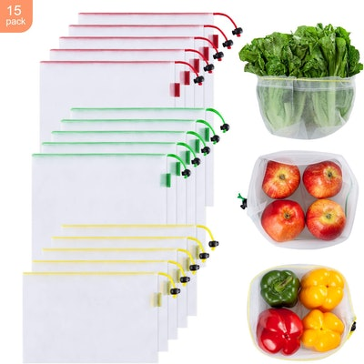 Ecowaare Reusable Mesh Produce Bags (Set Of 15)
