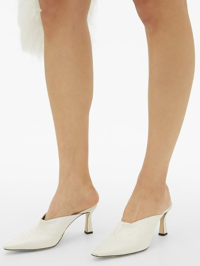 Lotte faux pearl-embellished satin mules