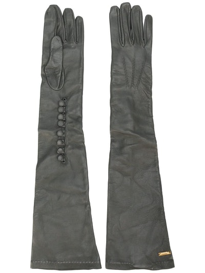Calf Leather Long Gloves