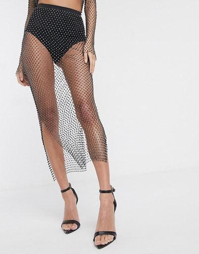 Diamanté Mesh Midi Tube Skirt