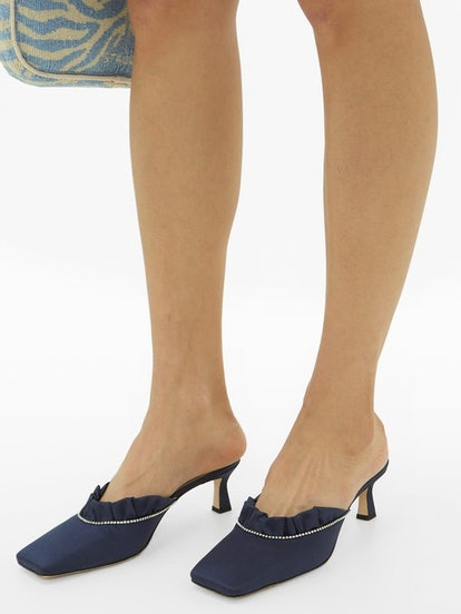 Isa crystal-trimmed satin mules