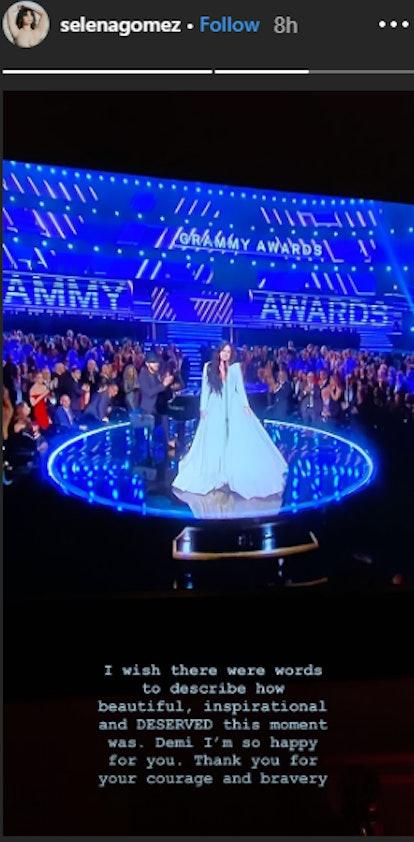 Selena Gomez praises Demi Lovato's Grammy performance.