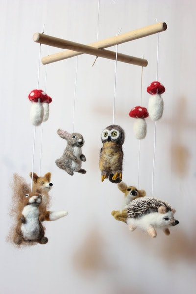 Forest Animals Felted Baby Mobile