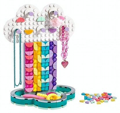 a multicolored jewelry holder made from the new Lego Dots collection.