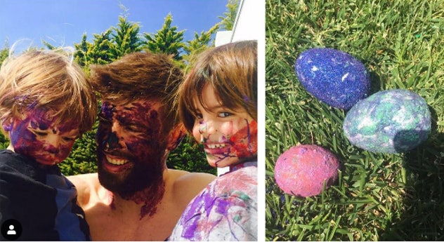 Shakira celebrated Easter 2017 with a photo of her husbands and sons getting messy.