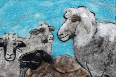 Felted Sheep Wall Hanging
