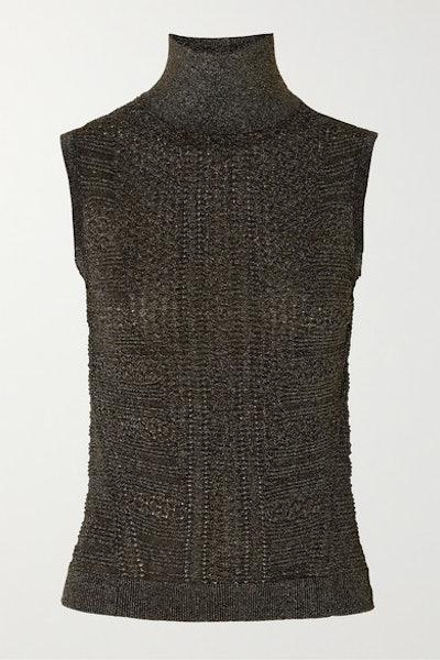 Metallic Ribbed-Knit Turtleneck Top