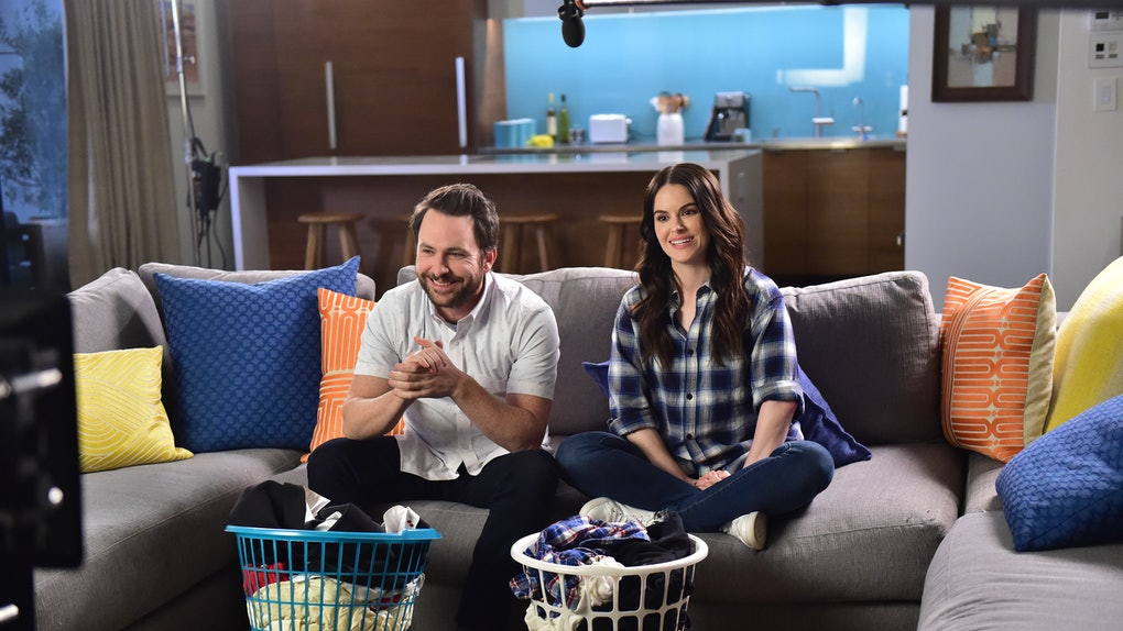Charlie Day and Emily Hampshire in the Tide Super Bowl Commercial