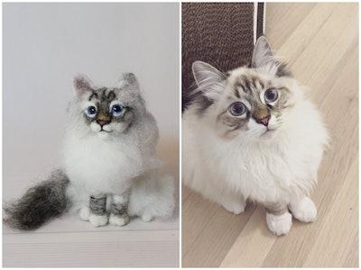 Needle Felted Cat, Custom Pet Portrait