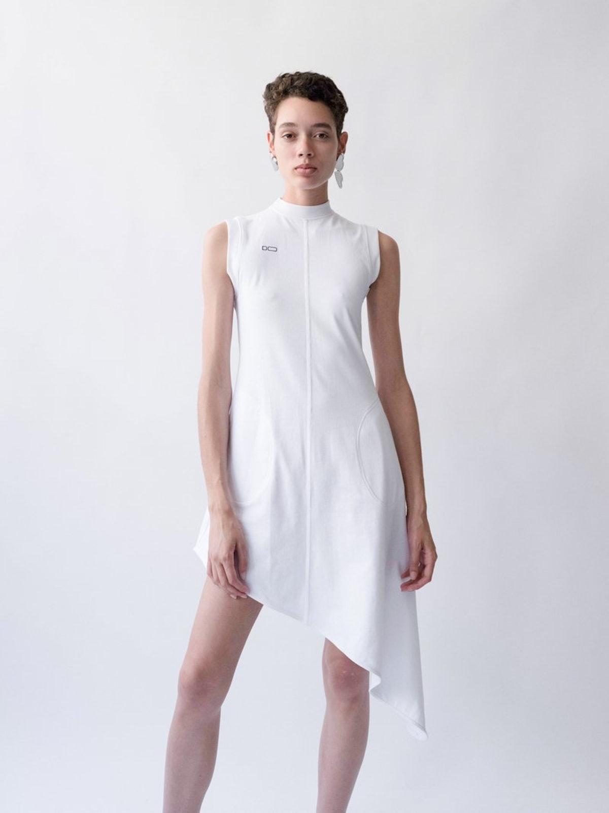 White Logo Asymmetrical Dress