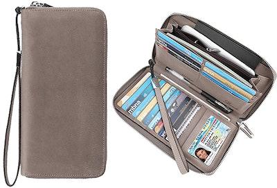 Lavemi Women's Real Leather Zip Around Wallet