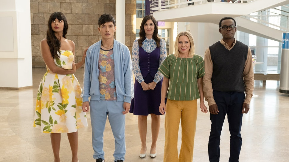 Tahani, Jason, Janet, Eleanor, and Chidi in the final season of 'The Good Place.'