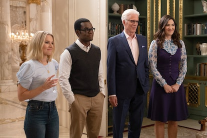 Eleanor, Chidi, Michael, and Janet in the final season of 'The Good Place.'