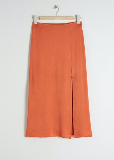 & other stories Side Slit Satin Midi Skirt