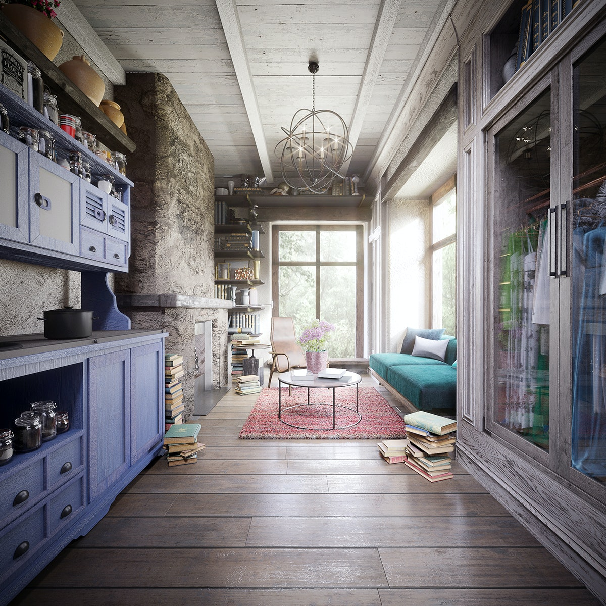 A Belle-inspired Disney tiny house has hardwood floors, piles of books,  a blue kitchen, and a bookshelf.
