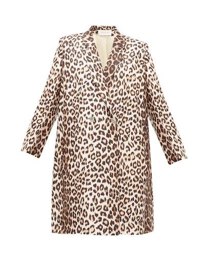 Charles Leopard-Print Silk-Twill Coat