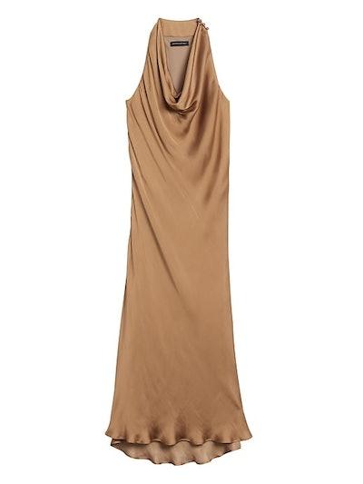 Satin Cowl-Neck Slip Dress