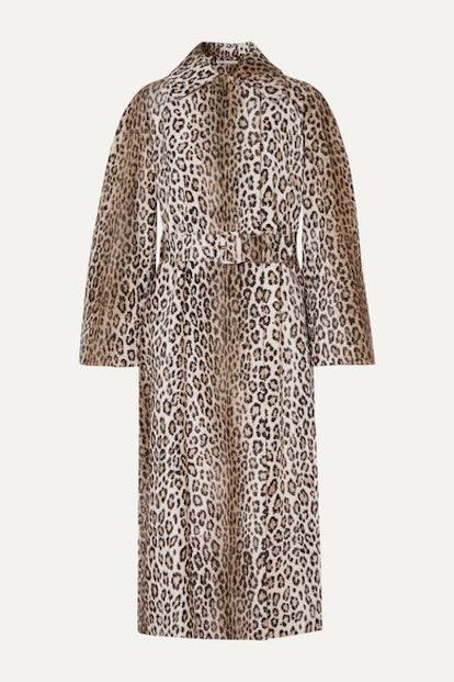 Jill Belted Leopard-Print Cotton-Blend Faux Fur Coat
