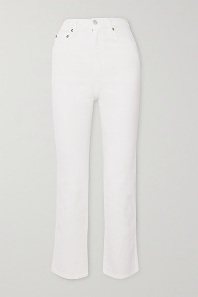 Pinch Waist Cropped High-Rise Flared Jeans