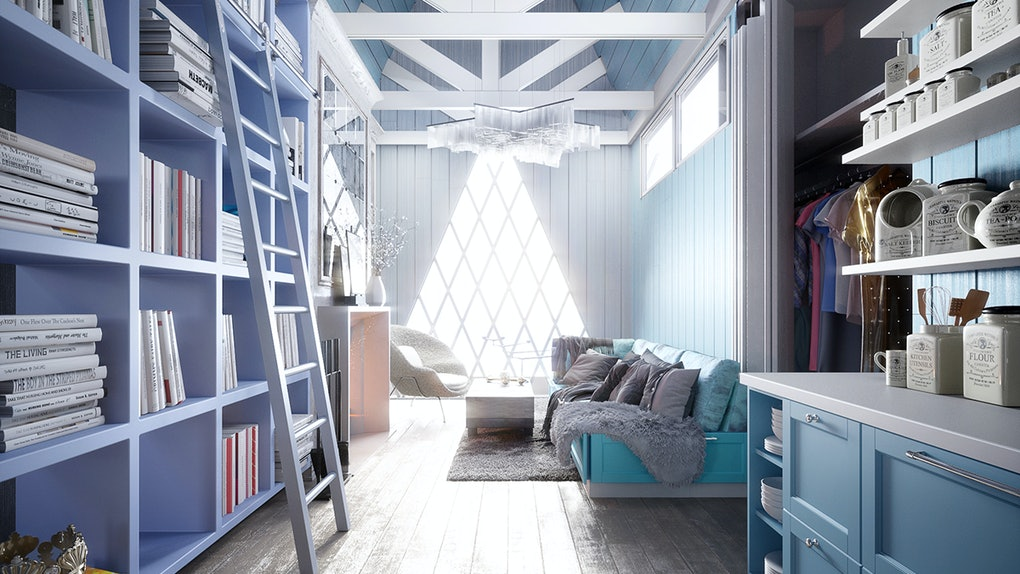 A ladder leans against a blue bookshelf in an Elsa-inspired Disney tiny home.