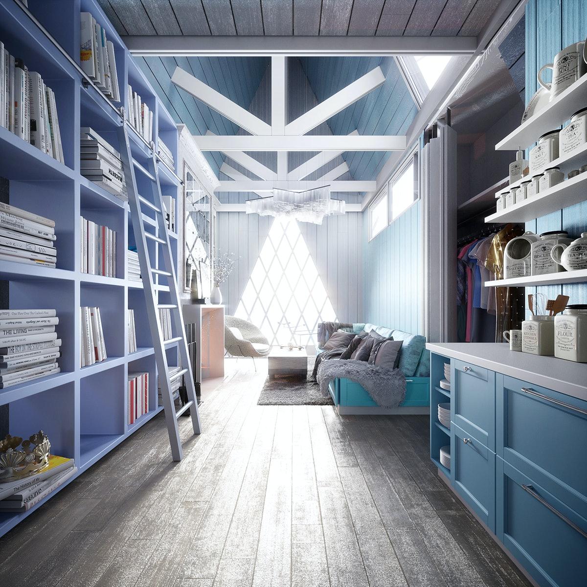 A ladder leans against a blue bookshelf in an Elsa-inspired Disney tiny home.
