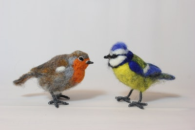 Needle Felted European Robin & Eurasian Blue Tit