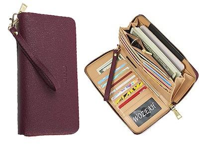 WOZEAH PU Leather Zip Around Wallet Clutch