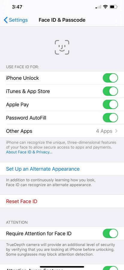 This is a screenshot of where to turn on the Face ID option, for data privacy.