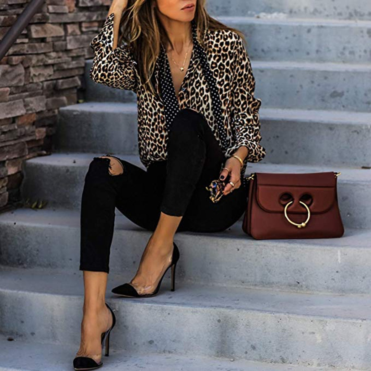 ECOWISH Womens V Neck Leopard Casual Print Tunic