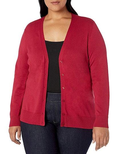 Amazon Essentials Women's Plus Size Lightweight Vee Cardigan Sweater