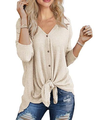 IWOLLENCE Womens Waffle Knit Tunic
