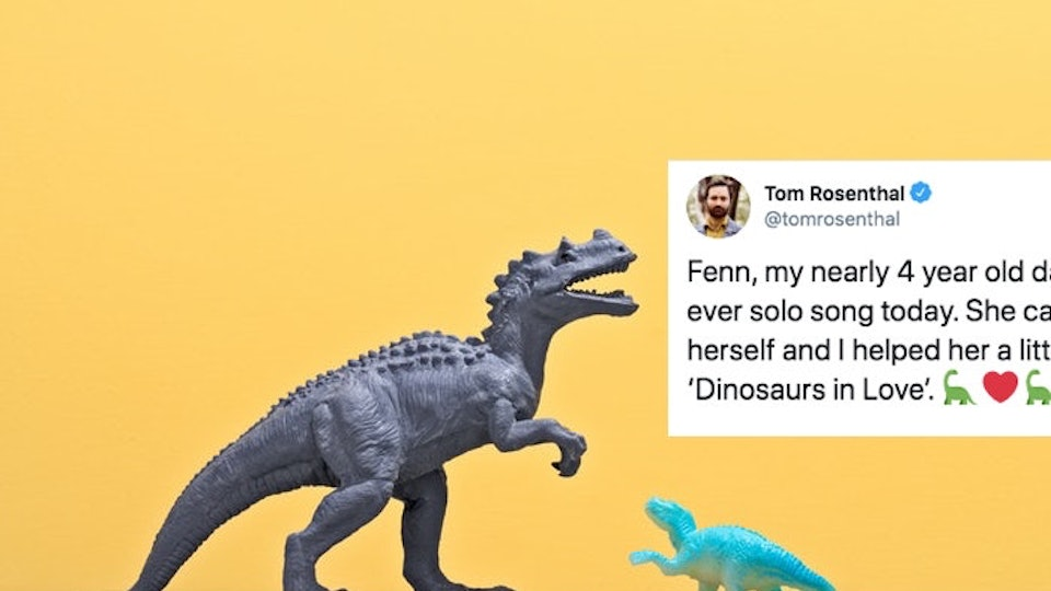 A little girl's song about dinosaurs falling in love is captivating Twitter just like it should.