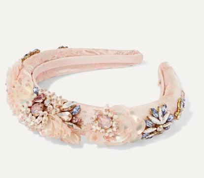 Versailles Embellished Satin-Jacquard Headband