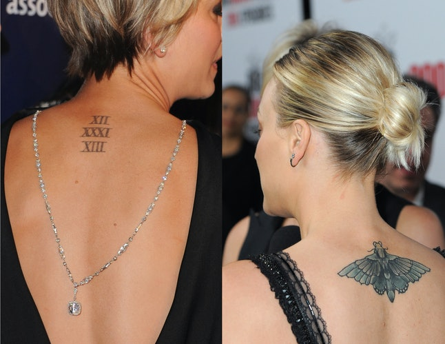 Actress Kaley Cuoco got a moth tattoo to cover up her wedding date tattoo.