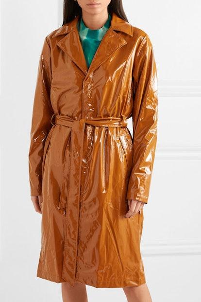 Glossed-PU trench coat